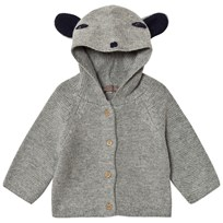 Emile et Ida Knitted cardigan with animal hood Gris chine Gris Chine