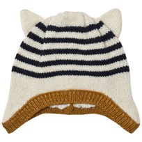 Emile et Ida Striped Hat with Ears Ecru Ecru