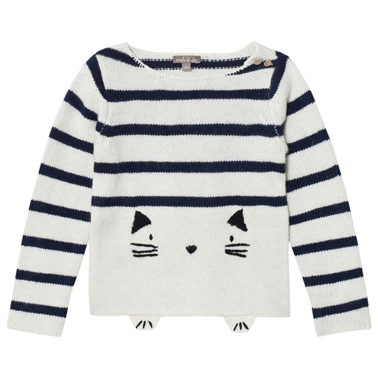 Emile et Ida Knitted Cat Detail Sweater Ecru Ecru