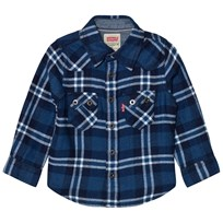 Levis Kids Blue and White Check Woven Shirt 45