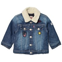 Levis Kids Blue Washed Trucker Jacket with Teddy Collar and Embroidered Badges 46