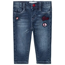 Levi's Kids Blue Mid Wash Pull Up Jeans with Badge Embroidery