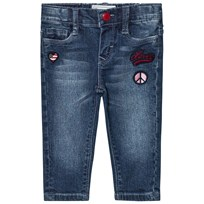 Levis Kids Blue Mid Wash Pull Up Jeans with Badge Embroidery 46
