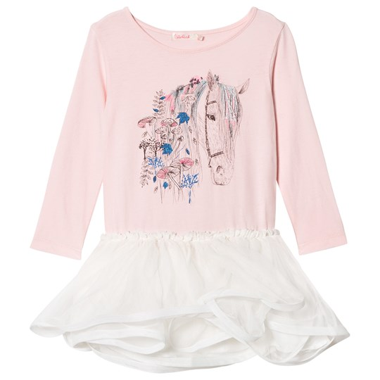 Billieblush Pink Horse Embellished Jersey and Tulle Dress 46F