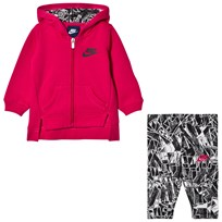 NIKE Black/Rush Pink Fleece Hoodie & Legging Set 023