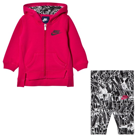 NIKE Fleece Huvtröja & Leggings Set Svart/Rush Pink 023
