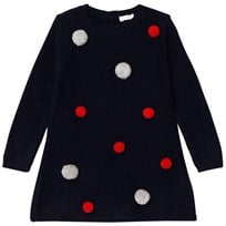 Il Gufo Navy Pom Pom Knit Dress 4907