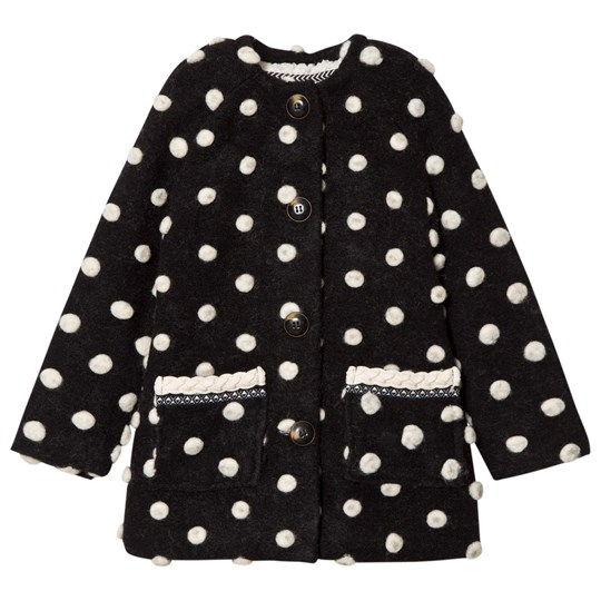 Catimini Black and White Pom Pom Coat 02