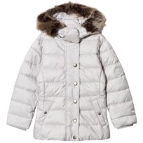 Barbour White Long Line Puffer Coat with Detachable Faux Fur Hood GY11