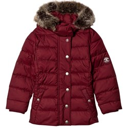 Barbour Carmine Long Line Puffer Coat with Detachable Faux Fur Hood