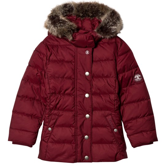 Barbour Carmine Long Line Puffer Coat with Detachable Faux Fur Hood RE71
