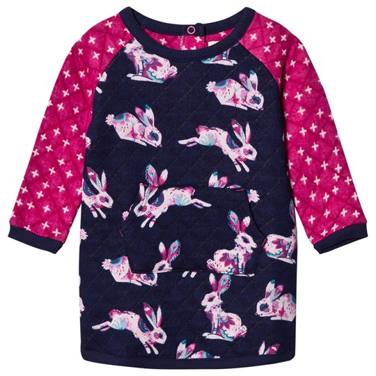 Hatley Navy and Pink Bunny Quilted Dress PINK/NAVY