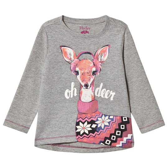 Hatley Grey Deer Print Long Sleeve Tee Black