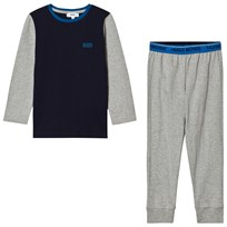 BOSS Grey and Blue Branded Pyjamas