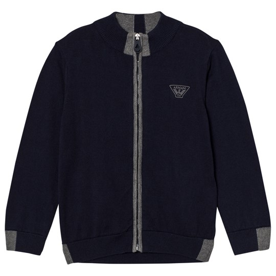 Emporio Armani Navy and Grey Logo Knit Zip Thu Cardigan 15K5