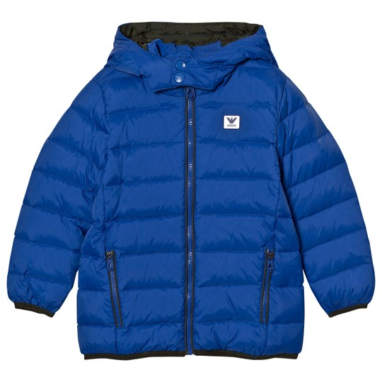 Emporio Armani Blue Down Hooded Puffer Coat with Logo 1592
