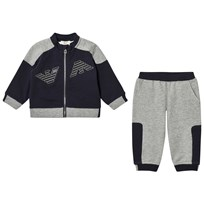 Armani Junior Navy and Grey Logo Tracksuit 15K5