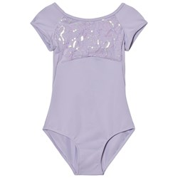 Mirella Lilac Sequin Butterfly Tulle Bust Strap Back Leotard