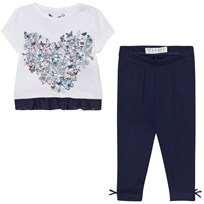 Guess White Floral Heart Print Tee Jersey Leggings Set A000
