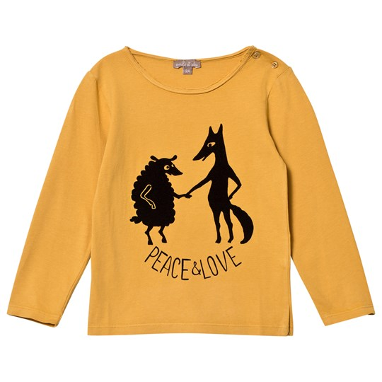 Emile et Ida Peace and Love Tee Ocre Ocre (Loup)