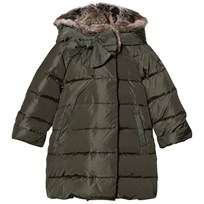 Il Gufo Green Coat with Faux Fur Hood 596