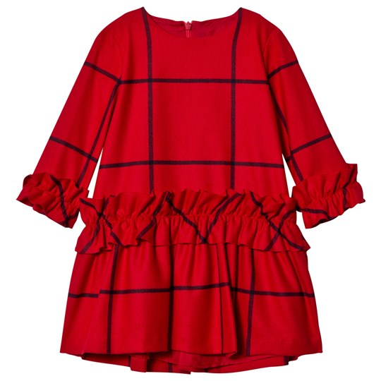 Il Gufo Red Frill Check Dress 376