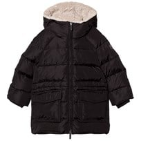 Il Gufo Black Padded Parka with Teddy Hood Lining 099