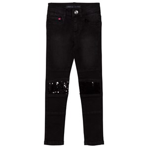 Image of IKKS Black Sequin Panelled Skinny Jeans 5 years (2743709525)