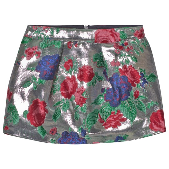 MSGM Silver Floral Metallic Skirt 122