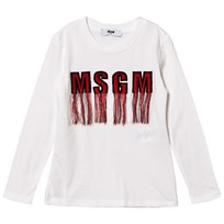 MSGM White Tassled Logo Long Sleeve Tee 002