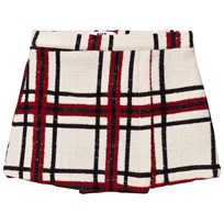 MSGM Cream Check Wool Skirt 200