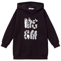 MSGM Black Sequin Paillete Logo Sweat Dress 110