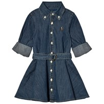 Ralph Lauren Blue Denim Fit-And-Flare Shirt Dress 001