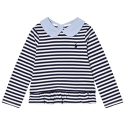 Ralph Lauren Navy Stripe Tee Peter Pan Collar
