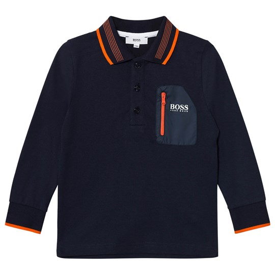 BOSS Navy Tipped Long Sleeve Jersey Polo 849