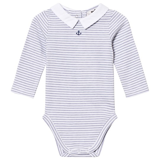 Cyrillus Navy and White Striped Long Sleeve Baby Body 6408