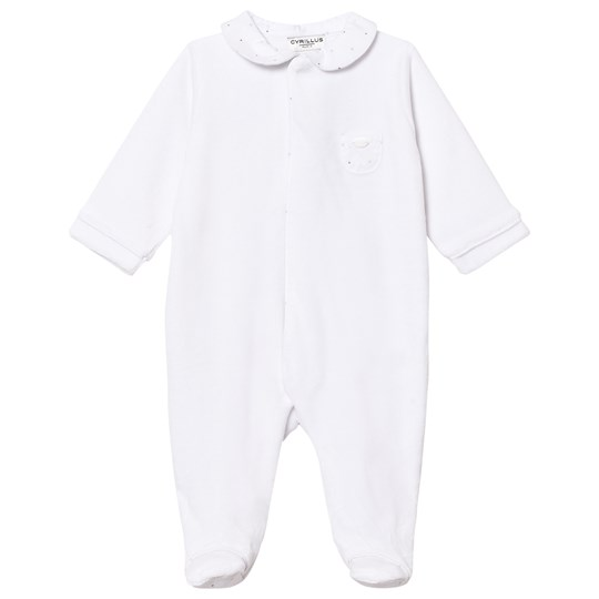Cyrillus White Velour Footed Baby Body 6349