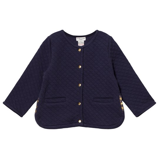 Cyrillus Navy Quilted Cardigan 6399