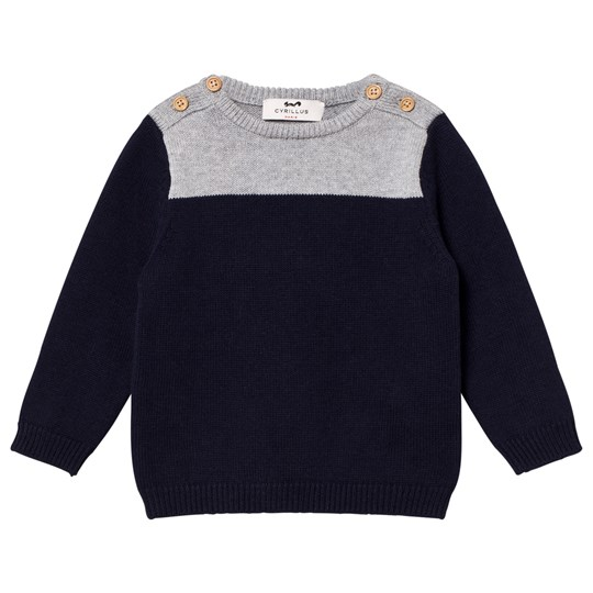 Cyrillus Navy and Grey Marl Sweater 6391