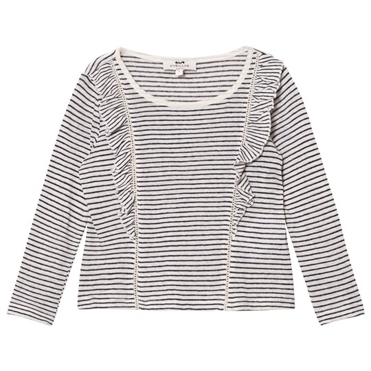 Cyrillus Navy and White Stripe Long Sleeve Tee 6399