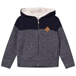 Cyrillus White/Navy Sherpa Lined Hoodie