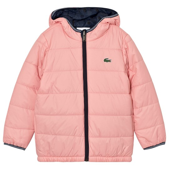 Lacoste Pink/Navy Hooded Puffer Coat TD8