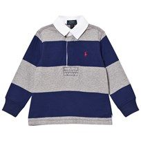 Ralph Lauren Navy/Grey Stripe Long Sleeve Rugby Shirt 001