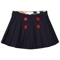 Burberry Navy Florianne Wool Skirt with Contrast Buttons Marinblå