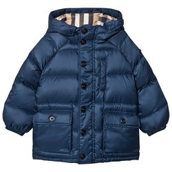 Burberry Blue Shower-resistant Hooded Puffer Jacket