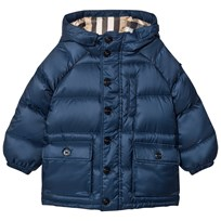 Burberry Blue Shower-resistant Hooded Puffer Jacket Ink Blue