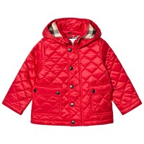 Burberry Red Jamie Quilted Hooded Jacket BRIGHT CHERRY RED