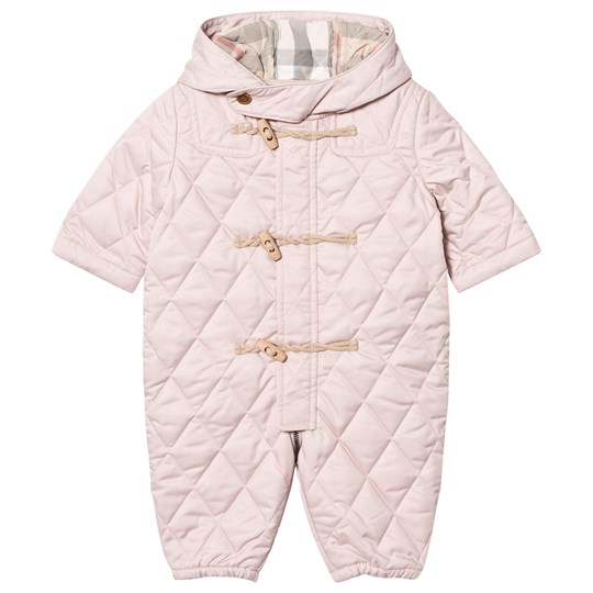 Burberry Pale Pink Quilted Keeper Snowsuit Powder Pink