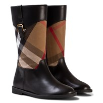 Burberry Black and Classic Check Mini Copse Leather Boots HC / BLACK