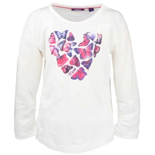 Mexx White T-Shirt Butterfly Heart White